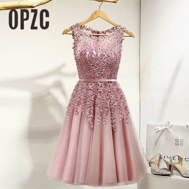5 Color Classic A line Short Evening Dress 2018 Applique Beaded ...
