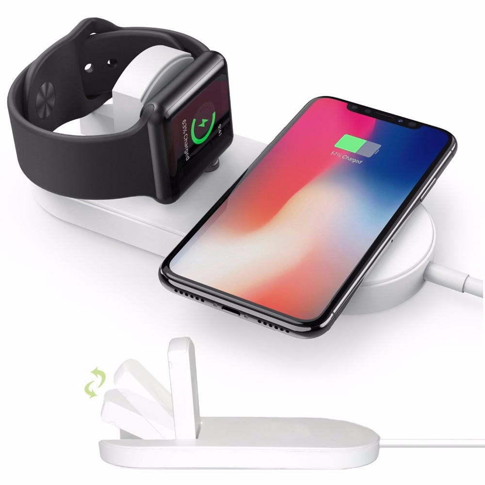 New Portable 2 in 1 Qi Standard Wireless Charger for iPhone X 8 Plus Apple Watch 3 Cordless Powerful Wireless Charging Pad Plate 8