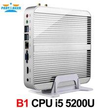 Причастником NUC Mini PC TV Box безвентиляторный мини-ПК настольный компьютер Core i5 5200U HTPC Gigabit LAN Wi-Fi HDMI и VGA
