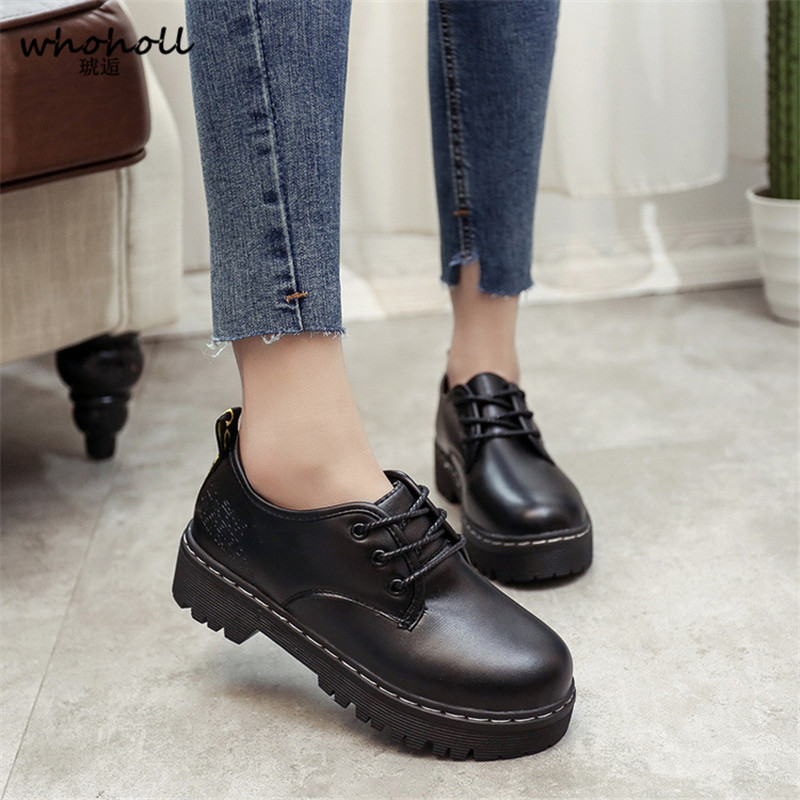 Flats British Style Oxford Shoes Women Spring thick plarform round toe Soft Leather Oxfords Lace Up Womens Shoes Retro Brogues keddo womens lace up brogues
