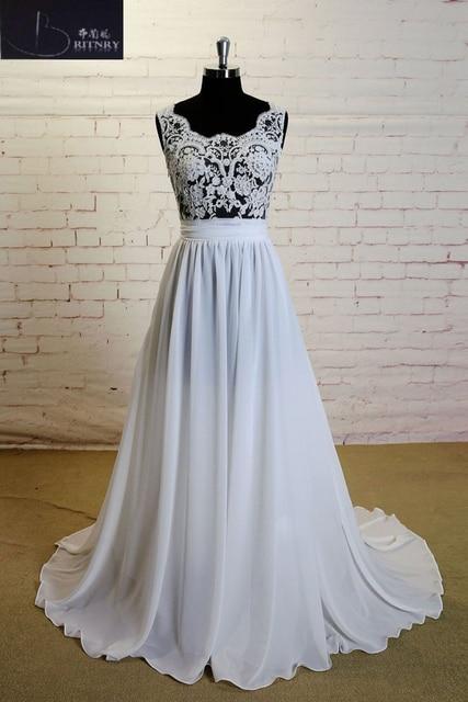 05ca96e21cf8c8 Romantic Ivory Lace Vestido de Noiva Illusion Top Sexy Beach Vintage Wedding  Dress Chiffon 2018 Robe