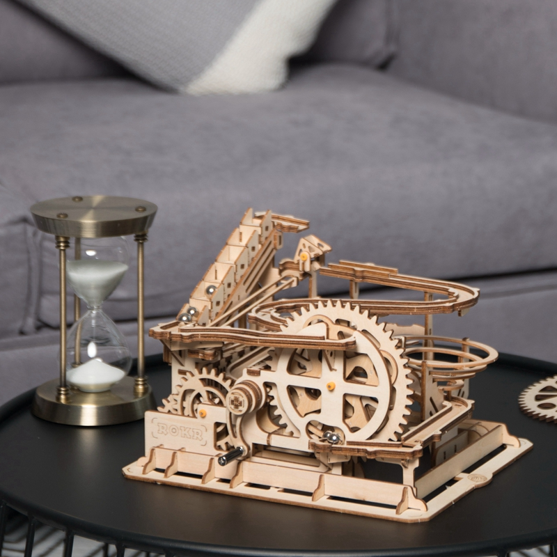 Image 4 - Robotime 4 Kinds Marble Run Game DIY Waterwheel Wooden Model Building Kits Assembly Toy Gift for Children Adult dropshipping-in Model Building Kits from Toys & Hobbies