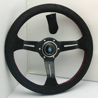 New Universal Sport 320mm Second Level Leather Deep Dish Steering Wheel Red Lines