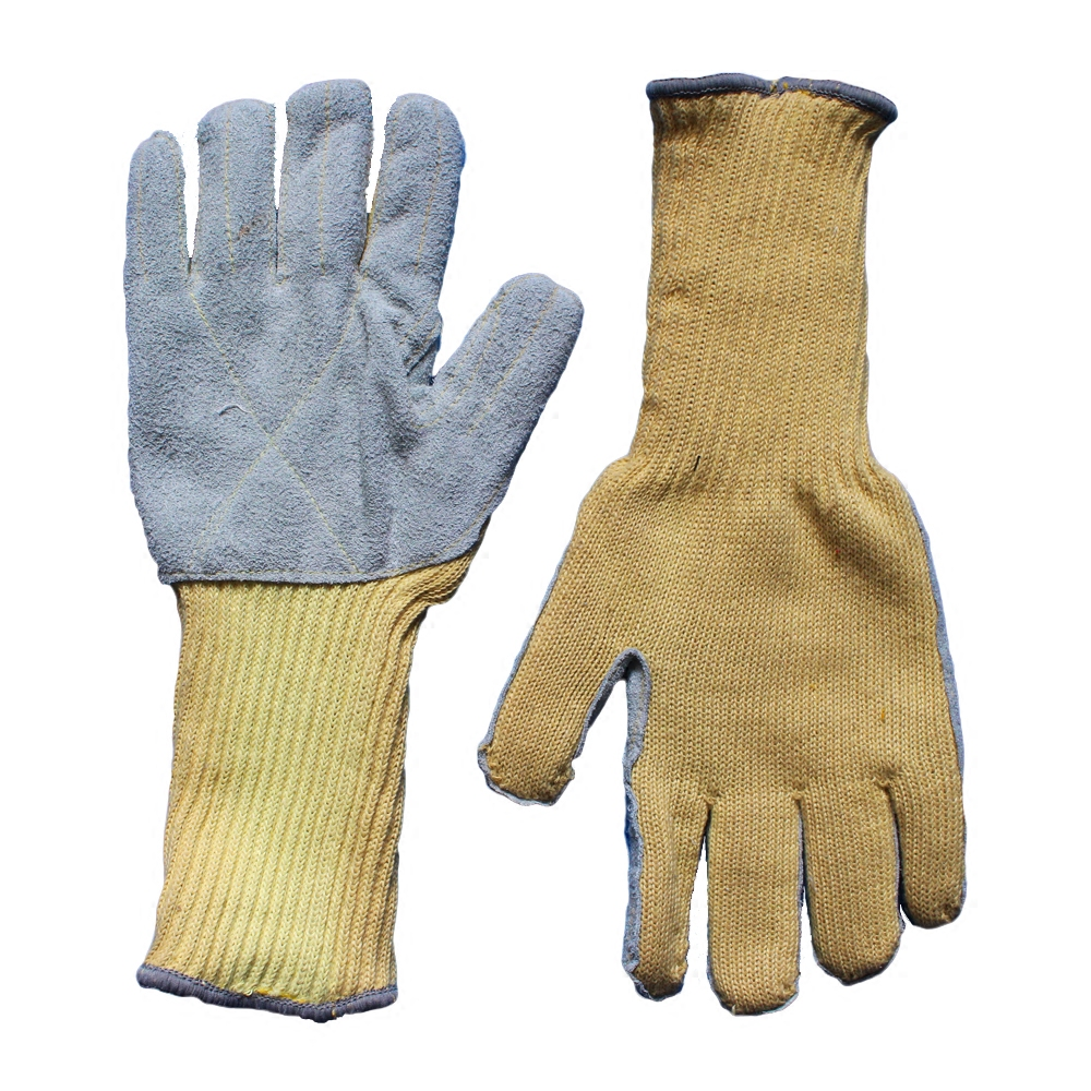 Leather work gloves with wool lining - Free Shipping Cow Split Leather Kevlar Heat Insulated Gloves High Temperature Resistant Working Gloves Anti
