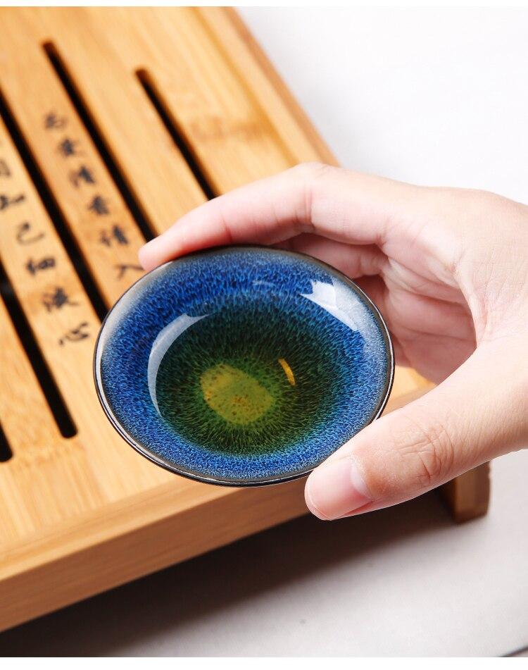 Nouveauté thé chinois Set thé cérémonie accessoires céramique huile gouttes bleu ambre glaçure Kung Fu thé ensemble thé bouilloire tasse ensemble - 5