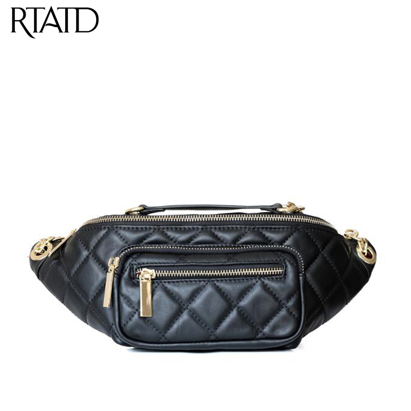New Plaid Design Women Leather Bags Vintage Chain Ladies Shoulder Crossbody Bags Cow Leather Fashion Chest Pack For Female Tote