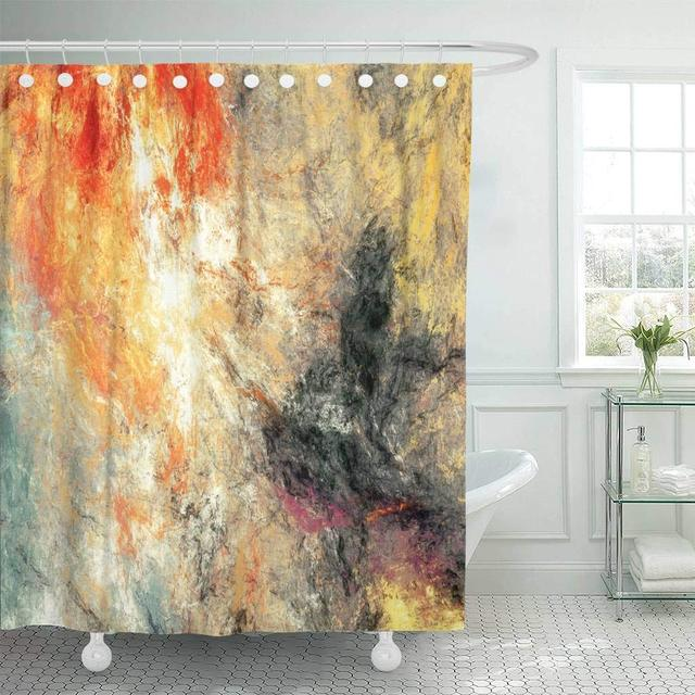 Bright Artistic Splashes Abstract Painting Color Modern Futuristic Multicolor Dynamic Decor Shower Curtains Bathroom Curtain