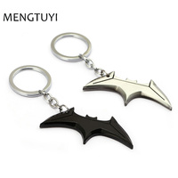 J Store 12pcs Lot Superhero Batman Key Chain Black Silver Bats Dart Keychain Bats Shape Metal