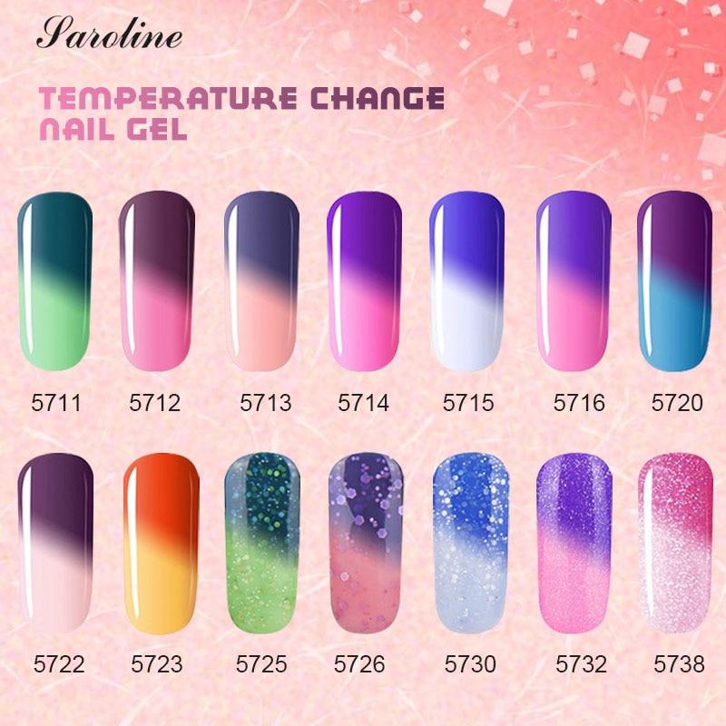Saroline Temperature Change Color UV Gel Polish for Nail Design Semi-permanent Hybrid Nail Soak Off Thermo Colors Gel Varnishe