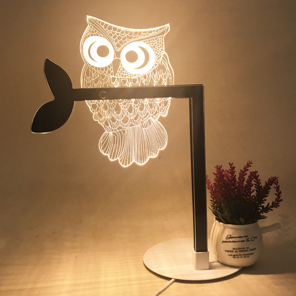 3D stereoscopic creative Desk Lamps acrylic LED night lamp cat bedside bedroom decorative table lamp owl eye protection lamp beiaidi 3d vision owl led night light dimmable led table lamp for bedroom wooden base bedside table lamp creative holiday gift