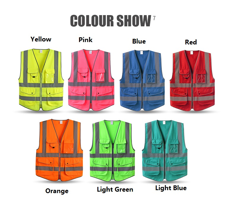 Reflective Warning Vest With Pockets Working Reflective Safety Clothing Zipper Open Style construction worker reflective safety vest with pockets with reflective tape
