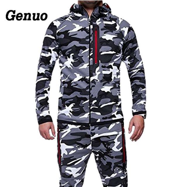 Tracksuit Men Autumn Camouflage Print Two Piece Set Men Zipper Patchwork Hooded Sweatshirts Jacket Pant Sportswear MenTrack Suit