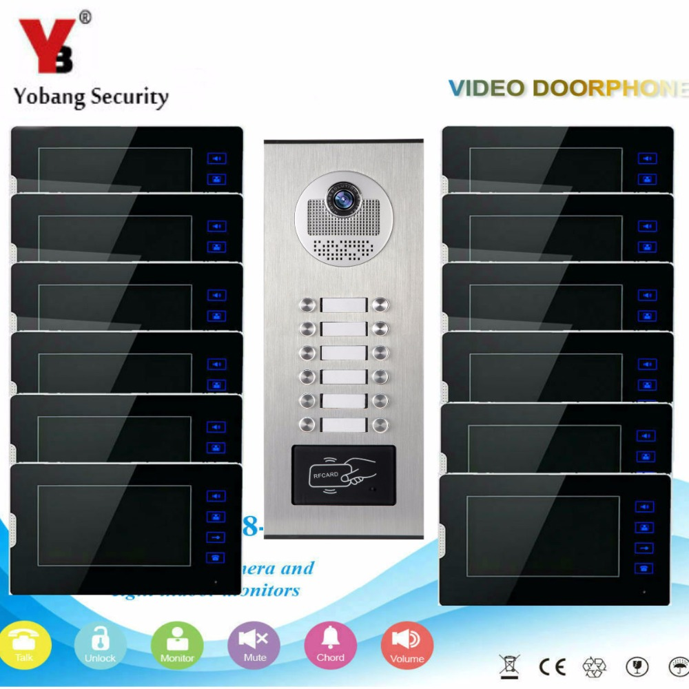 YobangSecurity 1 Camera 12 Monitor Video Intercom 7Inch Video Door Phone Doorbell Chime RFID Access Control For Home Security new 7 inch color video door phone bell doorbell intercom camera monitor night vision home security access control