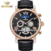 цена BINSSAW 2018 New Men Automatic Mechanical Watch Mens Tourbillon Fashion Leather Luxury Brand Sports Watches Relogio Masculino онлайн в 2017 году