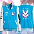 Game OW Cute D.VA Unisex Blue Cosplay Costume Coat hoodie jacket Baseball Uniform