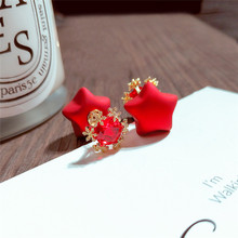 Korean Handmade Silver Needle Anti-allergy Red Heart Star Pig Round ball Drop Dangle Earrings Fashion Jewelry-BYD5