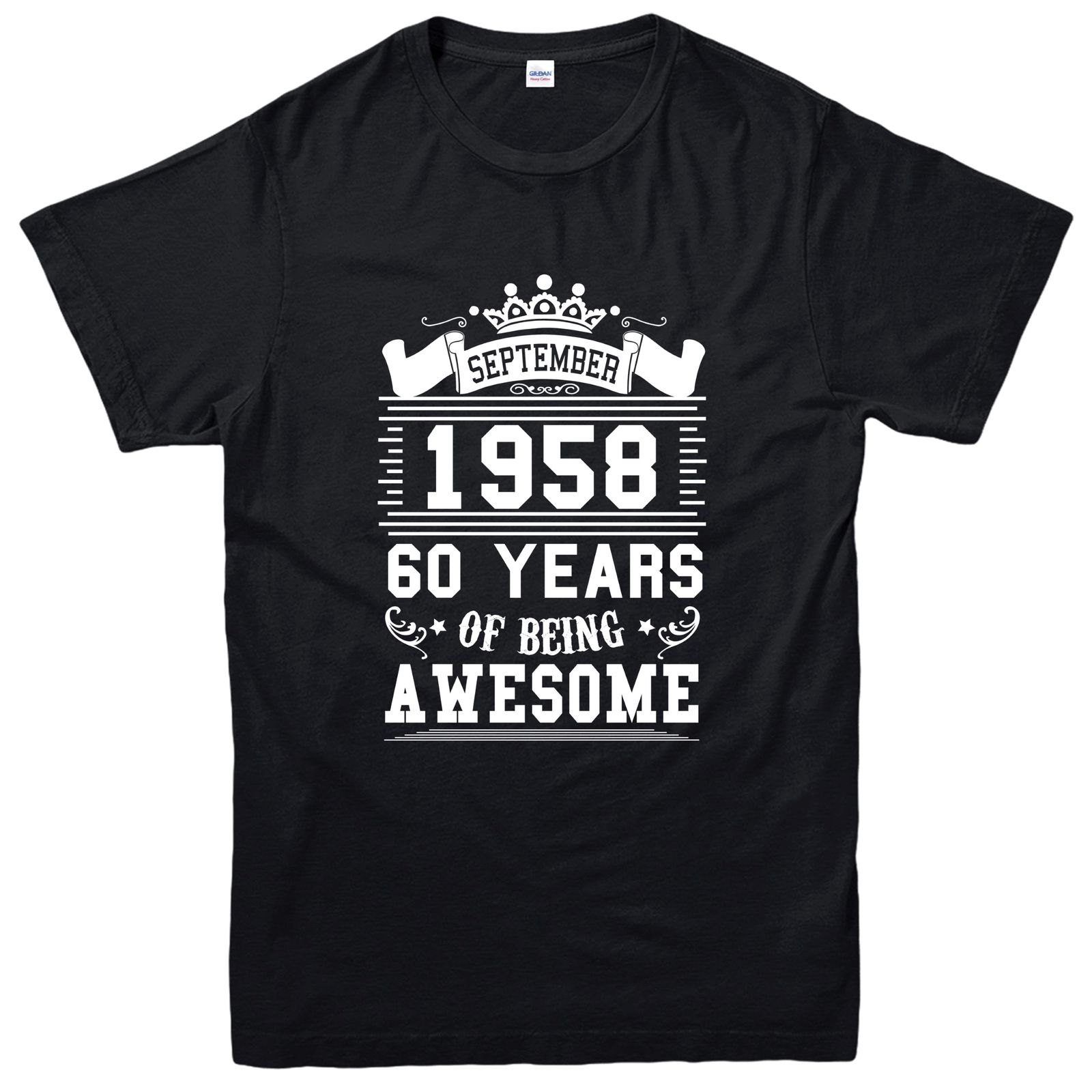 100 Cotton Short Sleeve Sixty Years Of Being Awesome T shirt September 1958 Inspired Tee Top Tee shirt Free shipping newest in T Shirts from Men 39 s Clothing