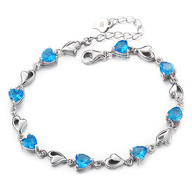 My Heart Sweet Blue/Purple CZ Solid 925 Sterling Silver Bracelet