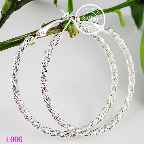 Wholesale 50mm Basketball Wives Silver Bamboo Hoops Earrings Hip hop Earrings