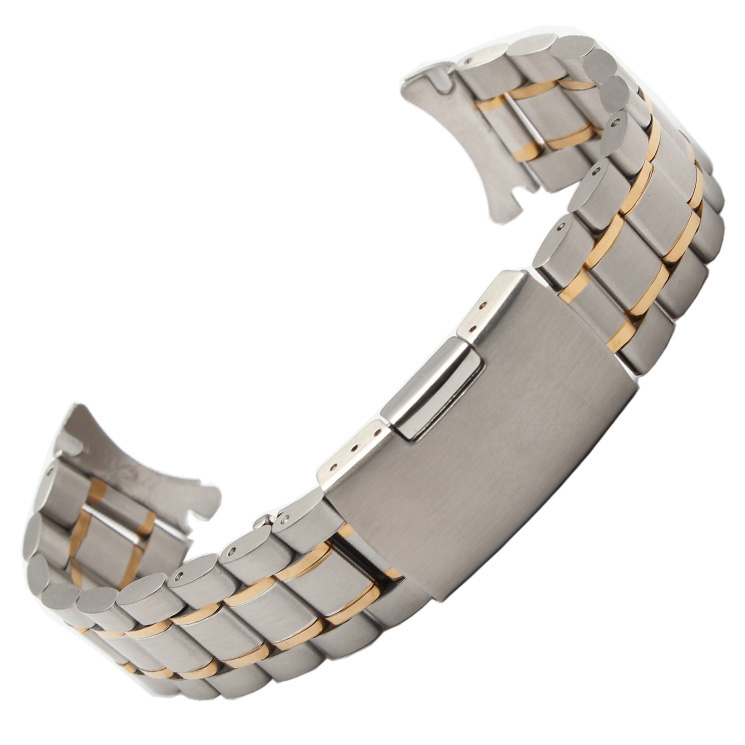 18mm 20mm 22mm 24mm silver and gold new men metal band watch stainless steel bracelets curved