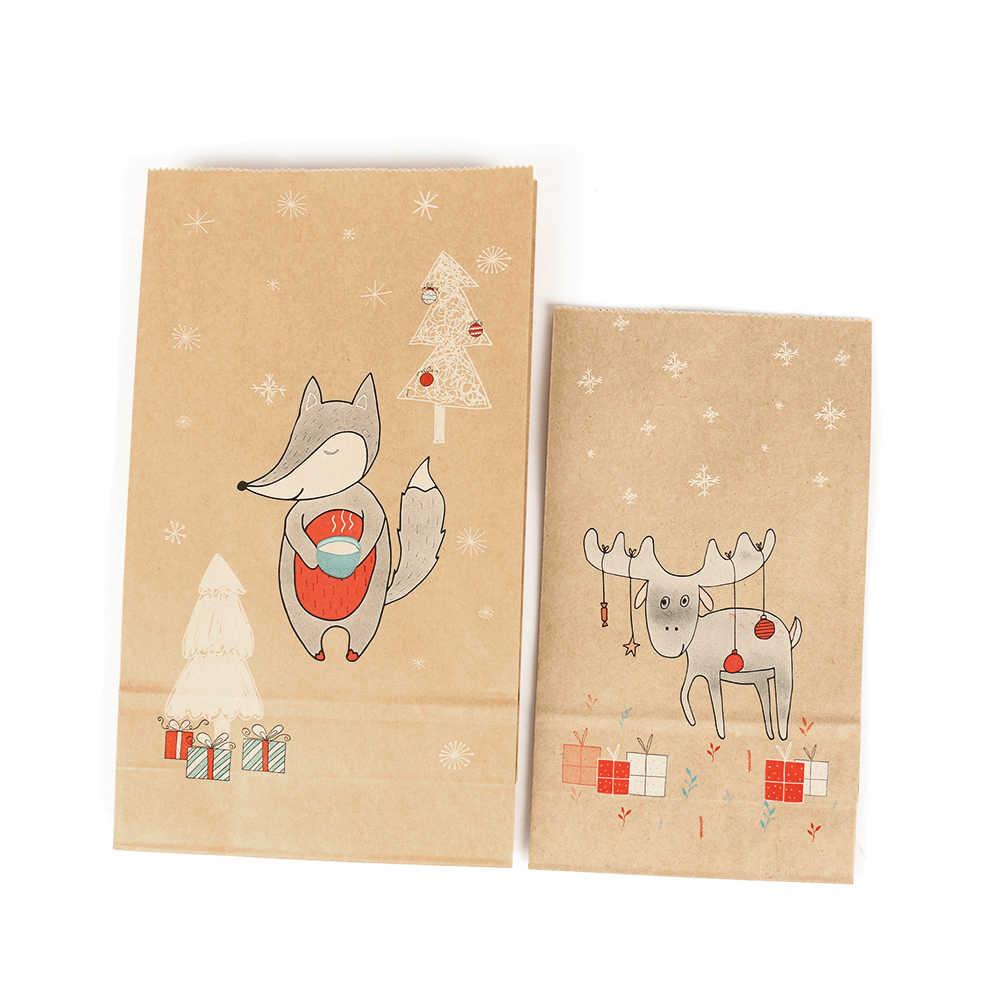 12PCS Christmas Kraft Paper Bag Xmas Stickers Set Fox Moose Gift Paper Bag Stickers Xmas Candy Food Cookies Packing Paper Bags