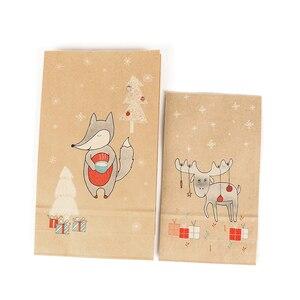 Image 3 - 12PCS חג המולד קראפט שקית נייר חג המולד מדבקות סט שועל איילים מתנת נייר שקית מדבקות חג המולד סוכריות מזון עוגיות אריזה נייר שקיות