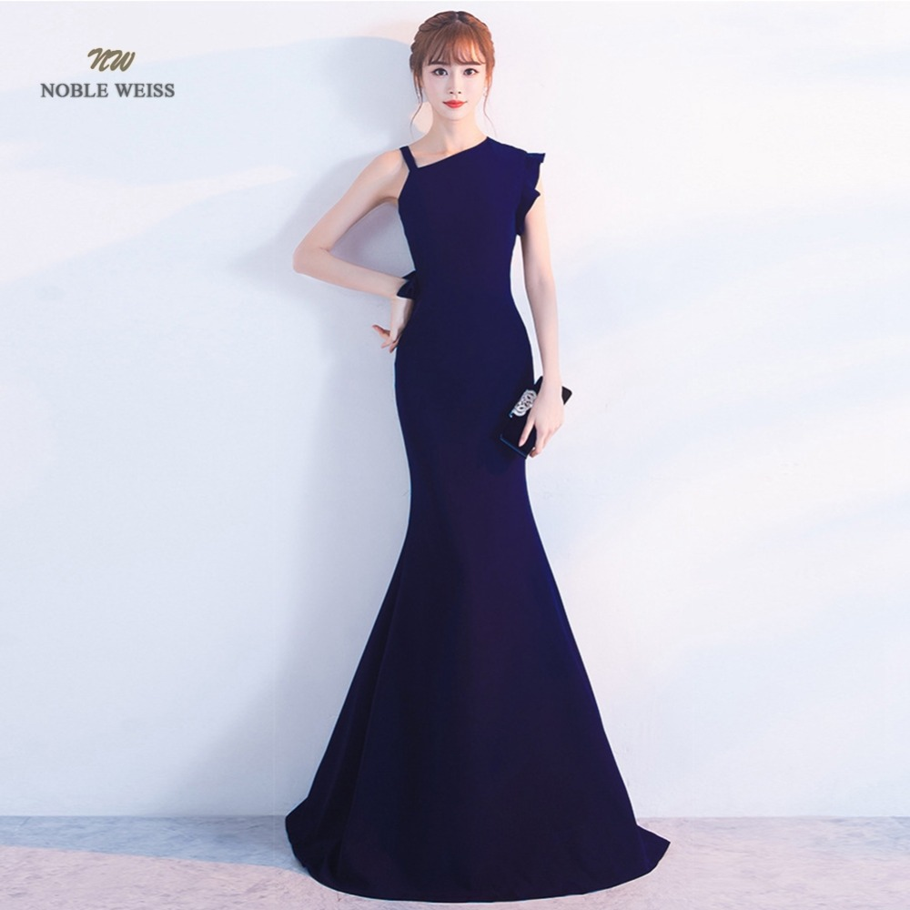 Robe De Soiree Elegant Long Evening Dress Mermaid Black Party Satin Maxi Dress Prom Gown