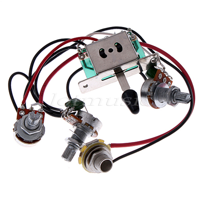 5* Pickup Switch Pots Jack Wiring Harness for Fender Strat Guitar
