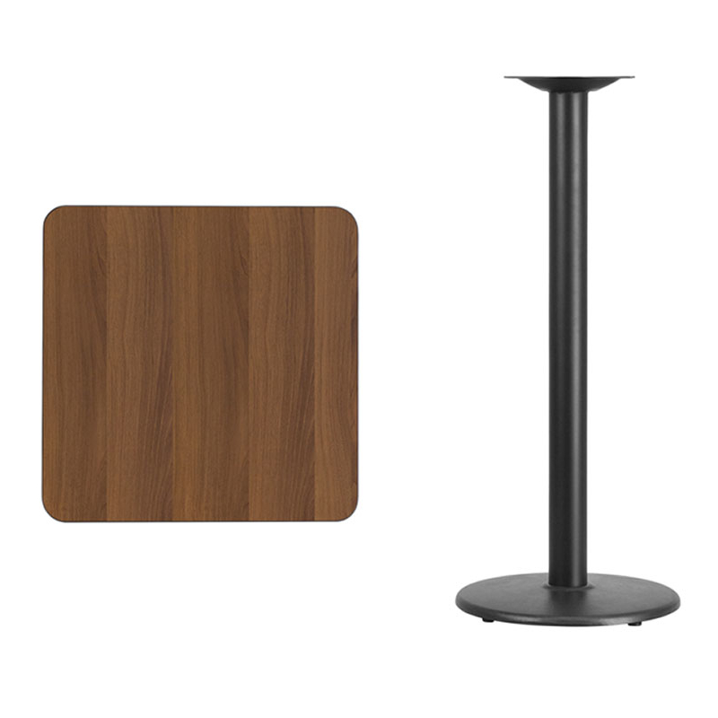 Flash Furniture 24'' Square Walnut Laminate Table Top with 18'' Round Bar Height Table Base virginia cavaliers l211 42 tall logo pub table by holland bar stool company with black wrinkle base and 28 table top diameter