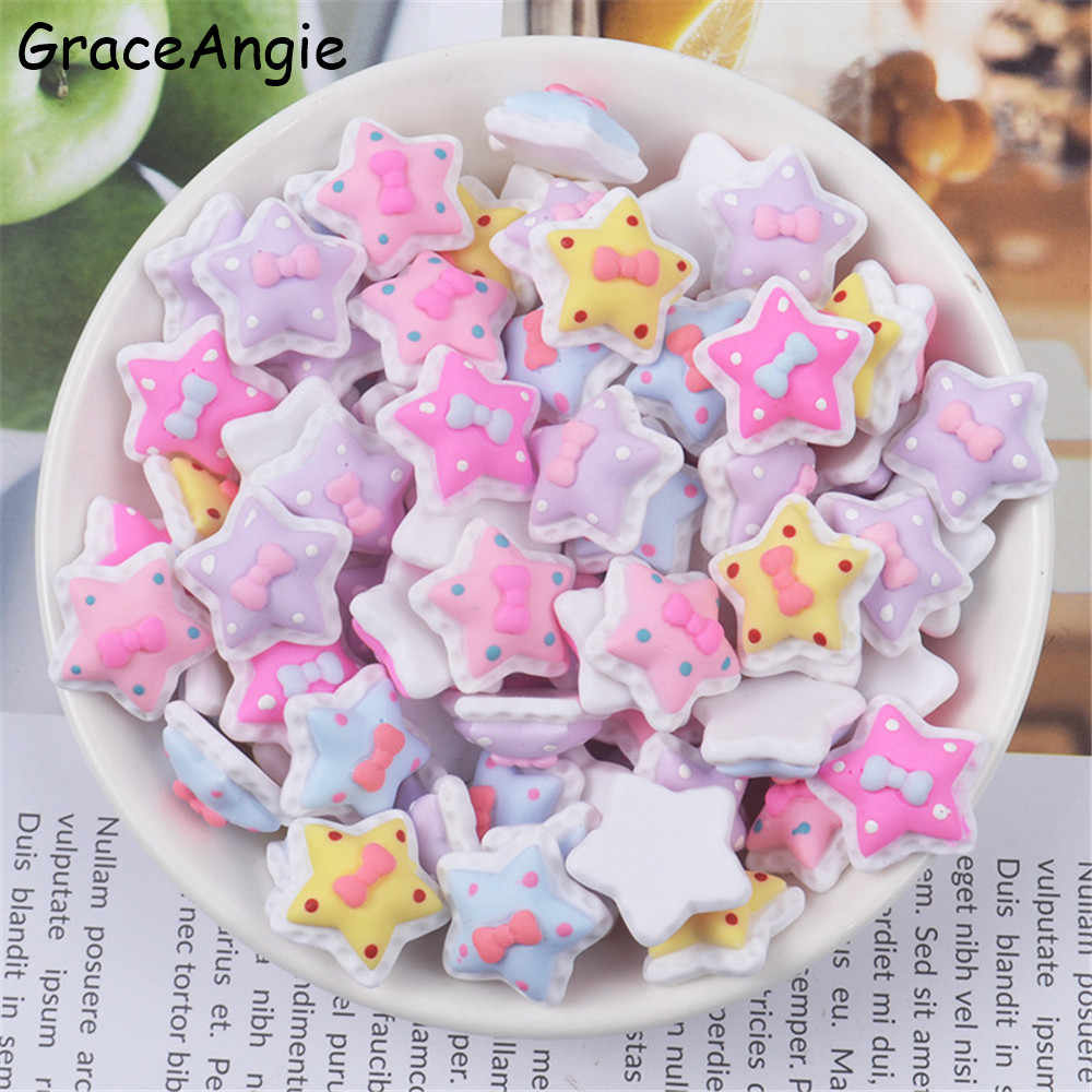 10pcs Star Flatback Scrapbooking Resin Cabochons Craft DIY Mix Kawaii Resin Cartoon Scrapbook Baby Girl Jewelry Accessories Cute
