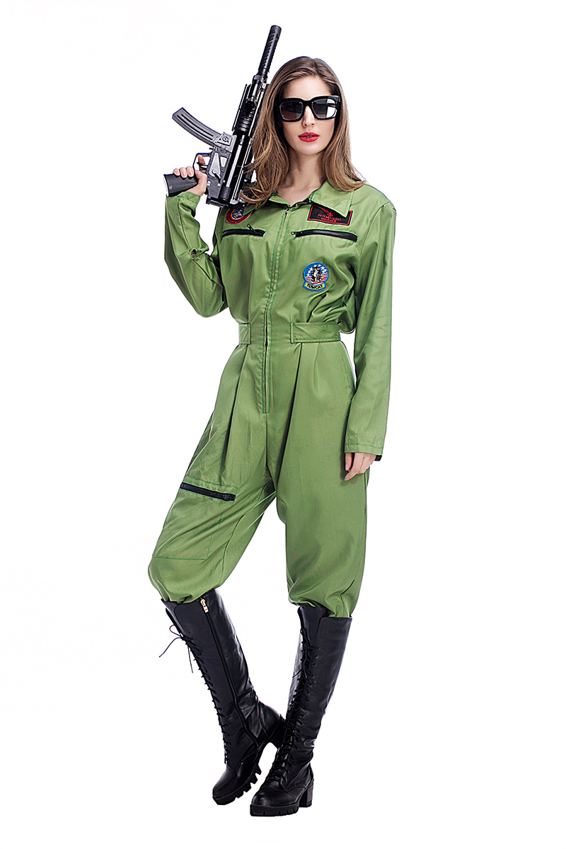 adult women halloween top gun costume jumpsuit army fancy cosplay hero solider outfit cool uniform for - Soldier Girl Halloween Costume