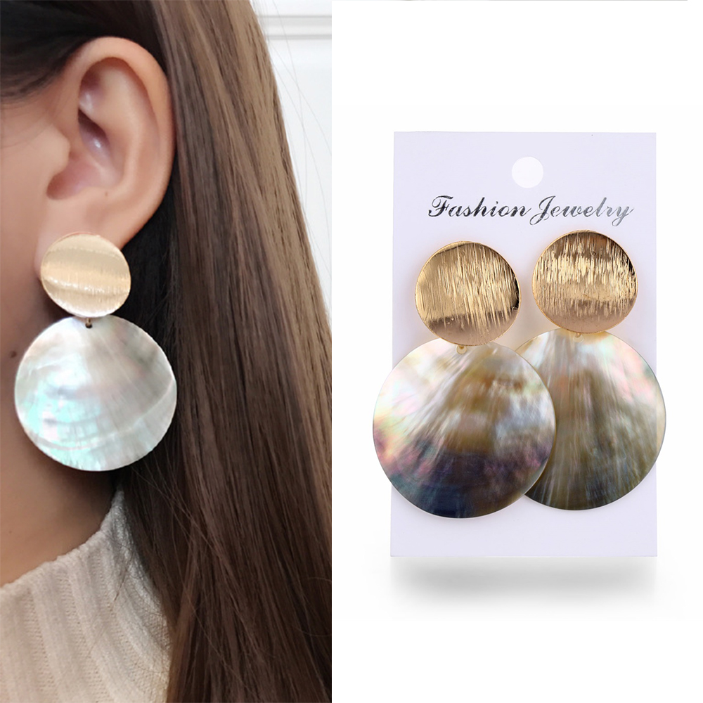 Fashion Round Shell Drop Dangle Earrings Metal Geometric Earrings For Women Gilrs Ladies Statement Jewelry Jewelry Drop Shipping