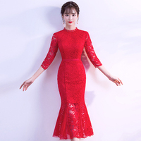 Lace Rushed Cheongsam 2018 New Women's Elegant Gown Party Proms For Gratuating Date Ceremony Gala Cocktails Dresses Up 42 Z