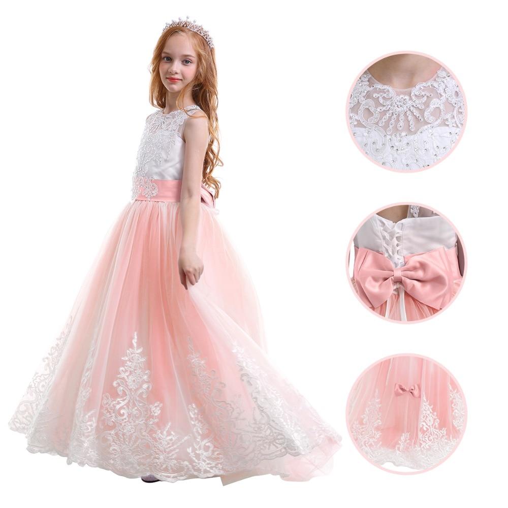Elegant Dress for Baby Kid Pleated Trailing Long Ball Gown Dress Fashion  Wedding Birthday Party Princess. sku  32958583686 b25bb4a6a904