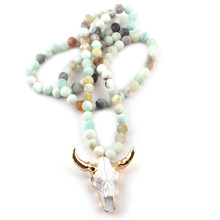 MOODPC Free Shipping Frosted Amazonite Stones Bohemian Tribal Jewelry Horn Pendant Necklace