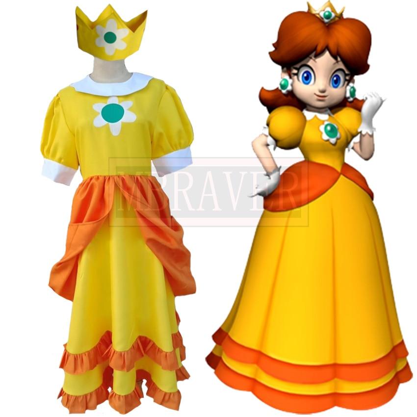 Super Mario Princess Daisy Girls Cute Lolita Dress Fancy Halloween Costumes Cosplay Custom Made Free Shipping Aliexpress