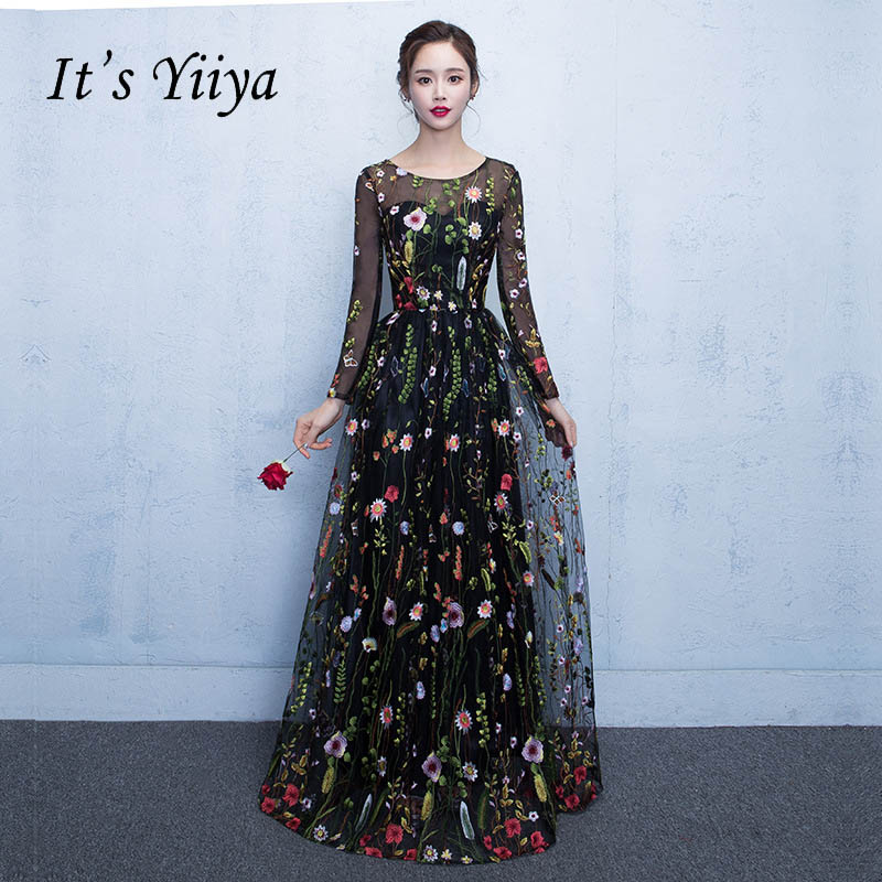 It's YiiYa New Black Floral Long Sleeves Illusion Appliques Elegant Zipper Party Formal Dress Floor Length Evening Dresses LX102(China)