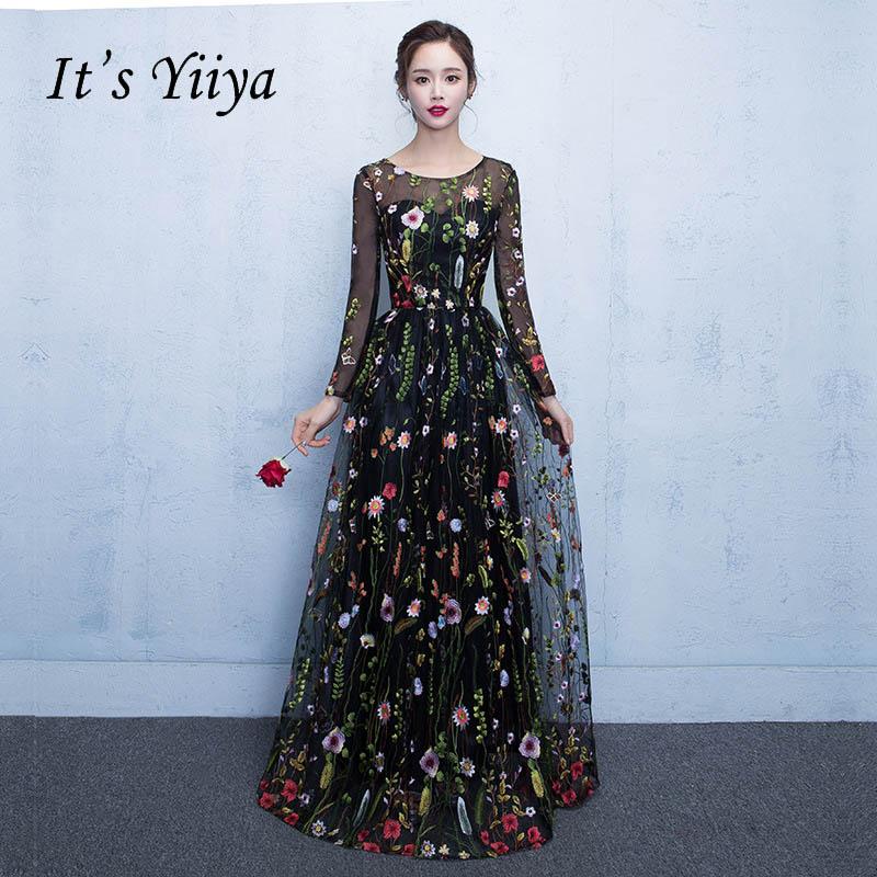 It's YiiYa New Black Floral Long Sleeves Illusion Appliques Elegant Zipper Party Formal Dress Floor Length Evening Dresses LX102