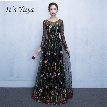 It's YiiYa New Black Floral Long Sleeves Illusion Appliques Elegant Zipper Party Formal Dress Floor Length Evening Dresses LX102 - discount item  37% OFF Special Occasion Dresses