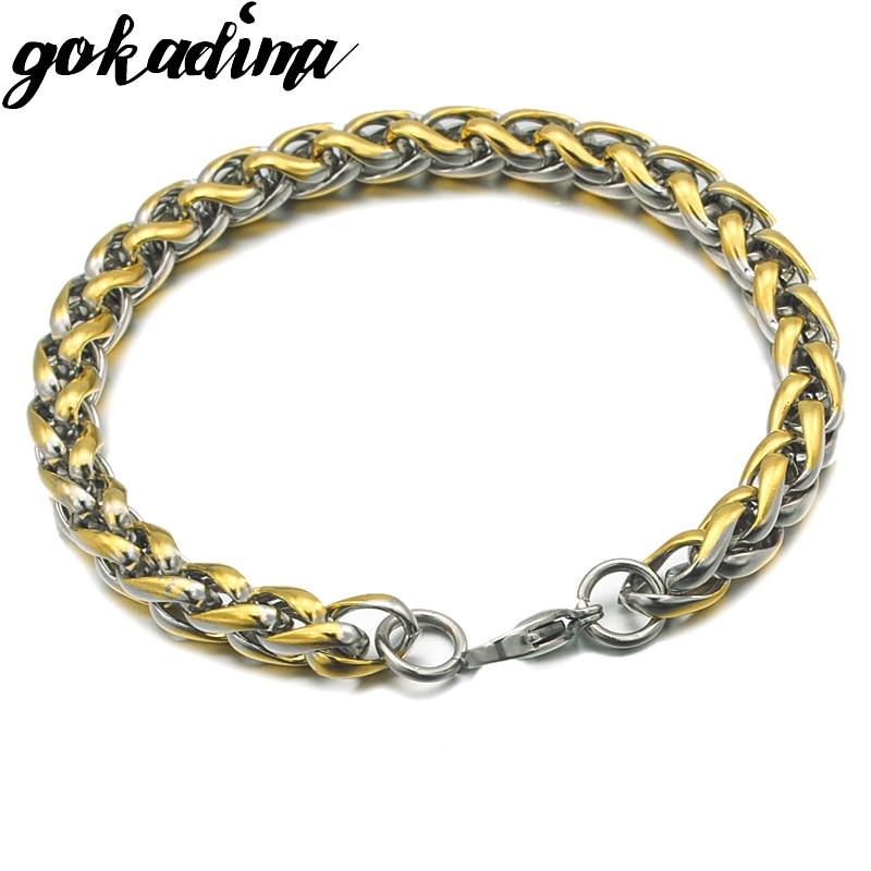 Acero inoxidable brazalete cadena 6mm para caballeros cadena pulsera para caballeros señora 21cm hombre