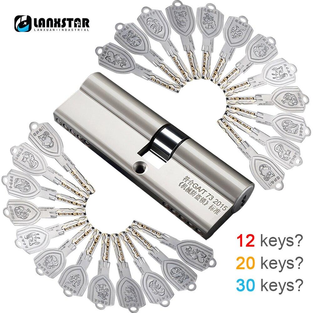 LANXSTAR laiton sur C Grade 12/20/30 clés cylindre antivol porte serrure noyau universel cuivre chromé personnaliser cylindres