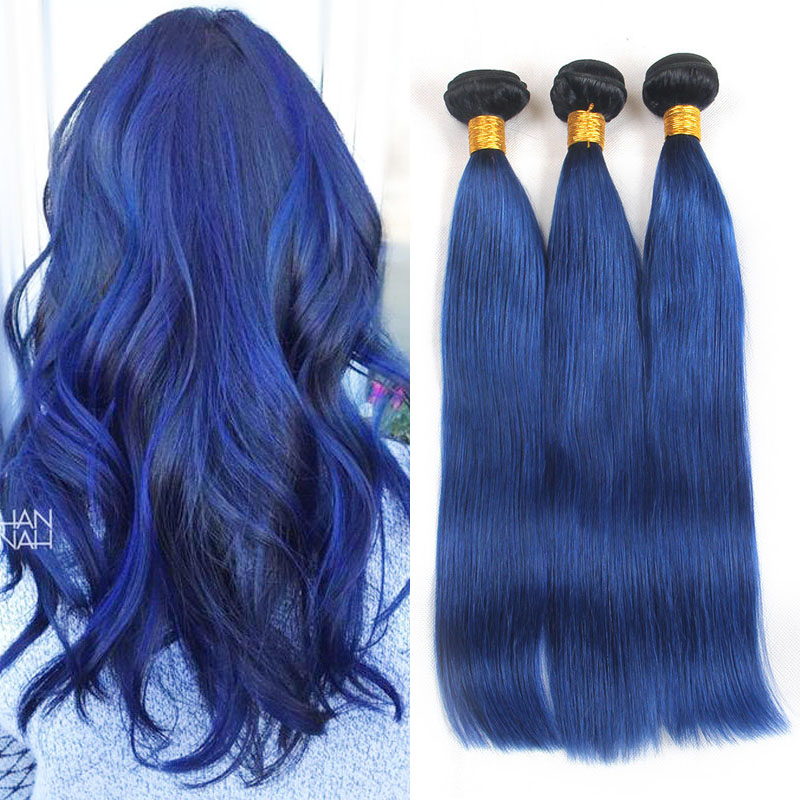 Riya Hair Ombre Brazilian Human Hair Straight Hair Weft 3 Bundles/Piece 1B/Ocean Blue Ombre Remy Hair Extension