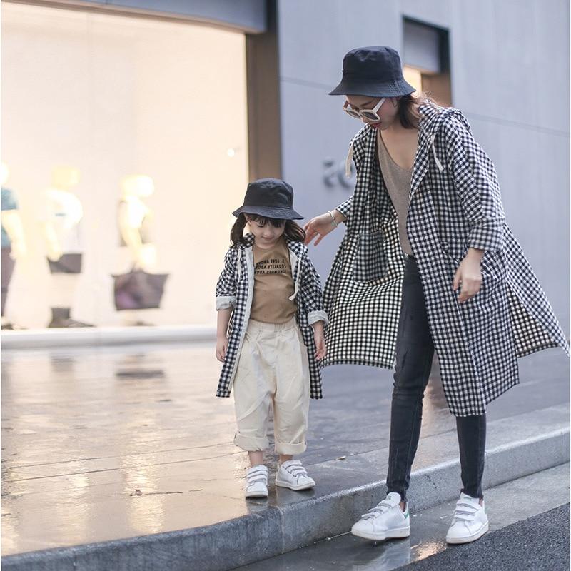 Automne coton Plaid manteaux automne bohème famille correspondant tenues nouvelle mode à capuche Trench Coat