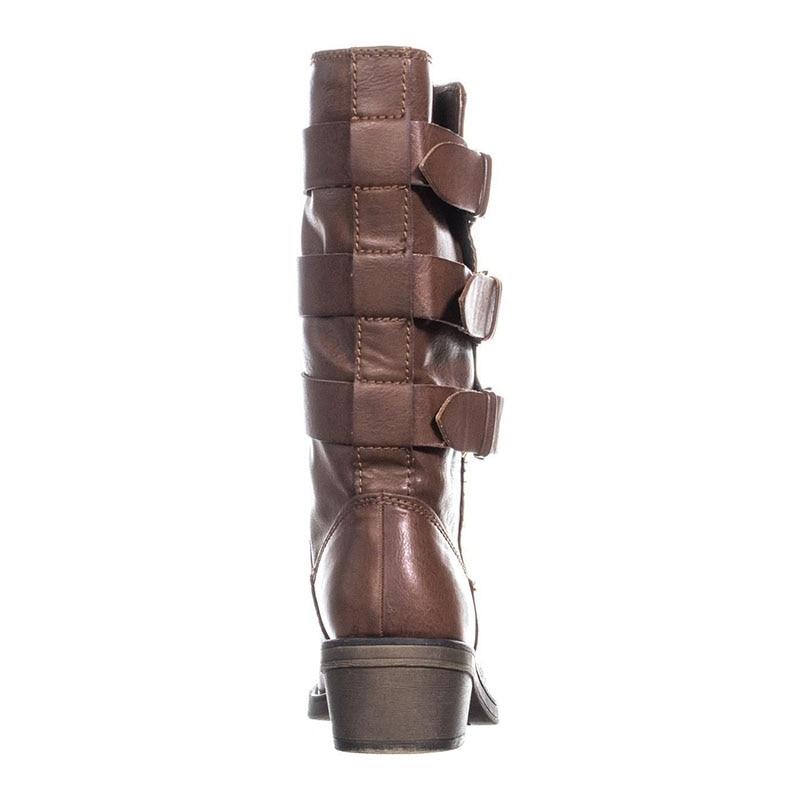 Slip Básico Moda Punta Mujer Cuadrados hebilla Botas Med Redonda Madura Elegante De Tacones Invierno Zapatos becerro Ty01 2019 r6B6aqCwz