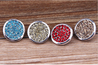 30pcs /lot New Zinc Alloy Enamel Rhinestone Buttons round snap new button Mixed Color snap new button watch
