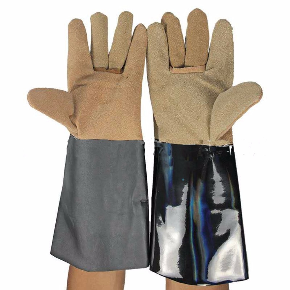 1 Pair Lengthening Electric Welding Soldering Industrial Gloves Safety Labor Protective Gloves Heat Resistant Working Gloves strong 0 35mmpb medical x ray protective gloves ray workplace use gloves lead rubber gloves