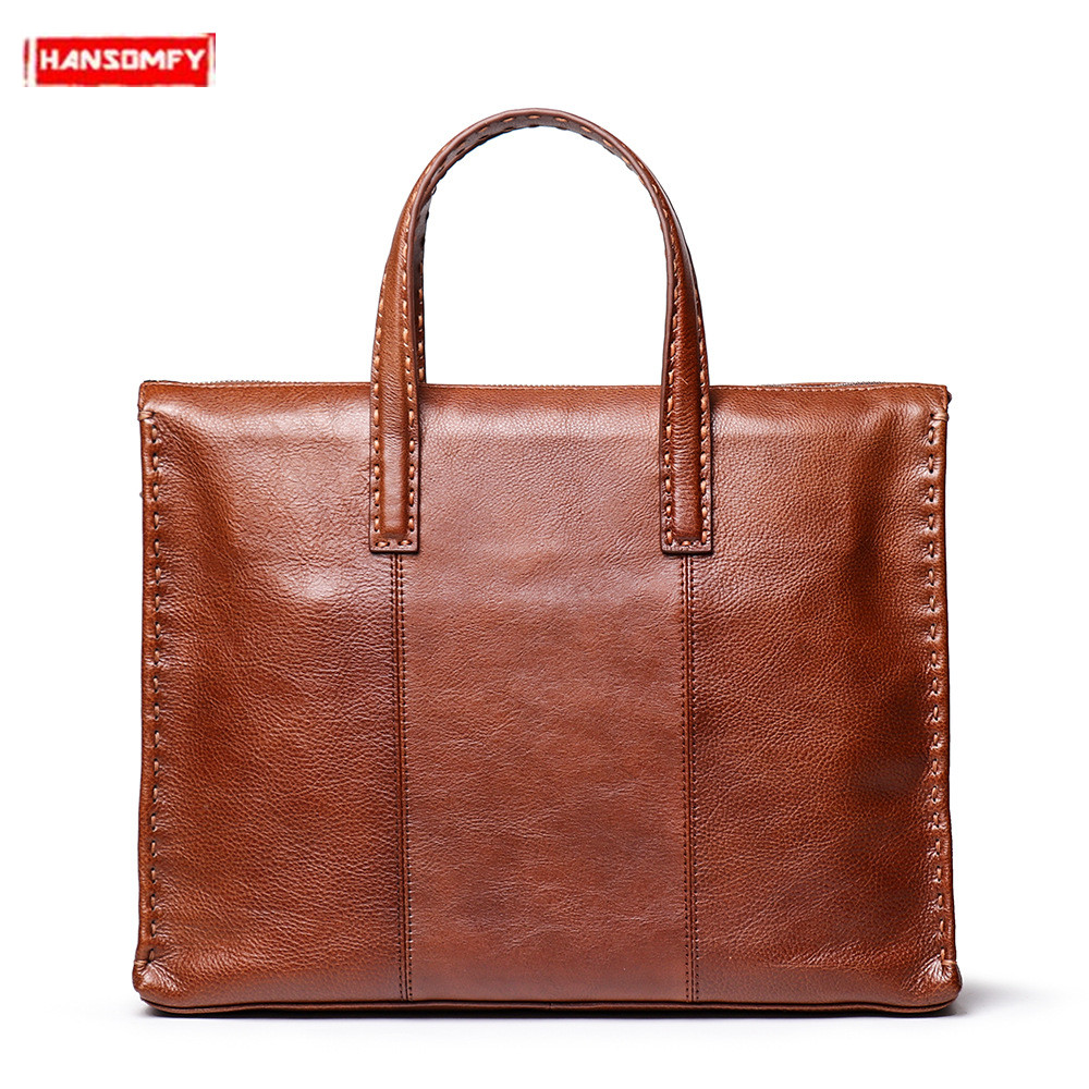 New Men's Briefcases Genuine Leather Male Woven Portable Handbag  Shoulder Messenger Bag Large Capacity 14 Inch Computer Bags