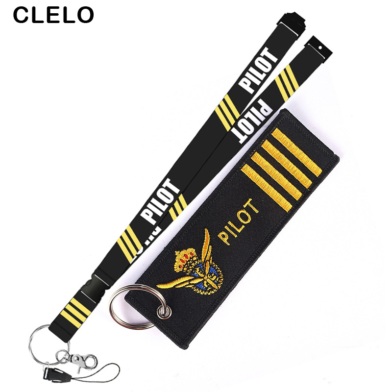 CLELO Pliot Flight Lanyard Crew Neck Strap Pilot With Key Ring for ID Card Holder Boarding Pass String Sling Aviation Gift in Card ID Holders from Luggage Bags