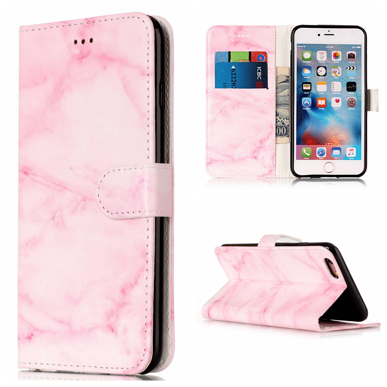 Case for Apple iphone 6 6S Plus PU+TPU Case for iphone 6 6 S Plus A1690 A1699 A1687 A1634 A1593 Marble pattern Flip phone bag