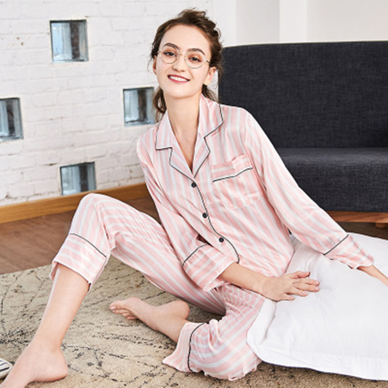69e6233712c1 Free shipping new pair of silk pajamas ladies spring long sleeved pants home  for two sets.-in Pajama Sets from Underwear   Sleepwears on Aliexpress.com  ...